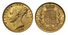 World Coins - Victoria 1855 Sovereign WW incuse on truncation