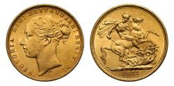 World Coins - Victoria 1877 M Sovereign, WW complete, St George reverse, long tail
