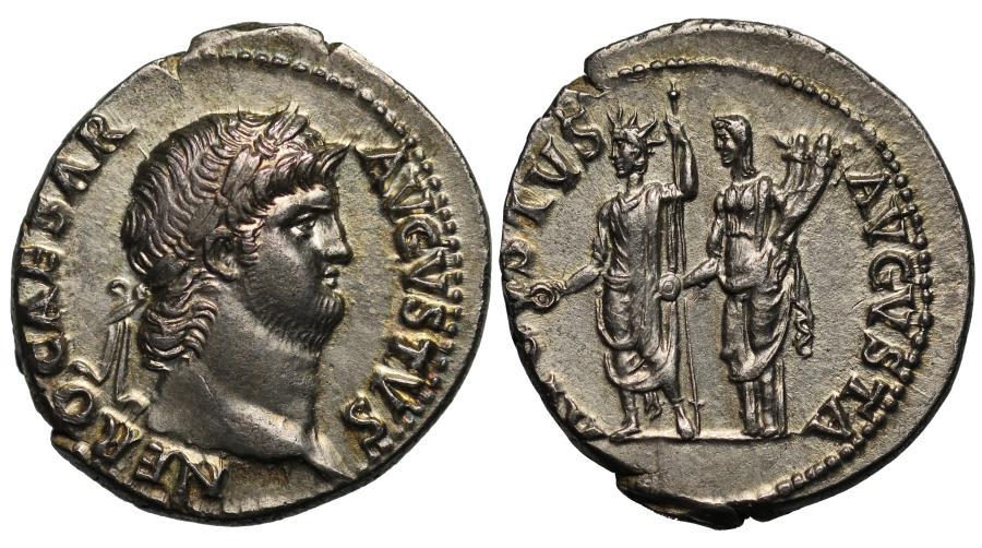 Ancient Coins - Nero, Silver Denarius