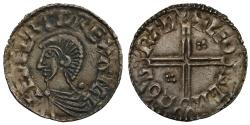 World Coins - Aethelred II long cross Penny, extra pellets in angles, Cambridge Mint, Leofsige