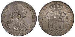 World Coins - George III oval countermark on Spain 1795 CN 8-Reales, Seville mint