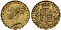 World Coins - Victoria 1855 Sovereign WW in relief, very rare