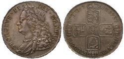 World Coins - George II 1751 silver Crown, final date for denomination until recoinage
