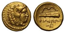 Ancient Coins - Kingdom of Macedon, Philip II, Gold Quarter Stater