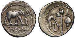 Ancient Coins - Julius Caesar, Silver denarius