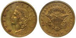 Us Coins - USA, California 1855 Kellogg & Co. gold $20 AU53