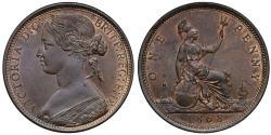 "World Coins - Victoria 1868 bronze Penny ""bun"" head"