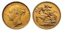World Coins - Victoria 1887 M Sovereign, WW complete, St George reverse, tiny BP no stops