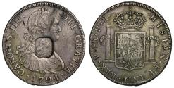 World Coins - George III octagonal countermark on Bolivia 1794 PR 8-Reales, Potosi mint