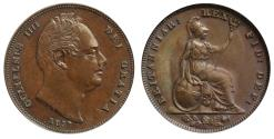 World Coins - William IV 1837 copper Farthing,  second reverse CGS60