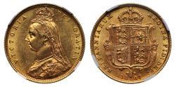 World Coins - Victoria 1887 Jubilee head Half-Sovereign Melbourne DISH M506 R4 MS61