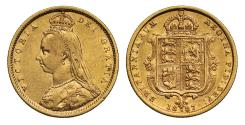 World Coins - Victoria 1887 Jubilee head Half-Sovereign Melbourne DISH M504 hooked J R4