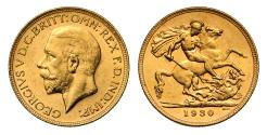World Coins - George V 1930 P Sovereign,Perth Mint, small head