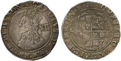 World Coins - Charles I, Tower Mint Shilling, group D, fourth bust, large bust 5, mm portcullis