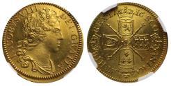 World Coins - Scotland, James VIII Pattern gold Guinea dated 1716 struck 1828 MS65