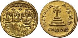 Heraclius and Heraclius Constantine gold Solidus, Constantinople