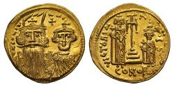 Ancient Coins - Constans II and Constantine IV, Gold Solidus, Mint of Constantinople
