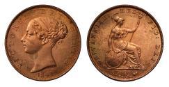 World Coins - Victoria 1841 Halfpenny, broken E in DEI giving DFI