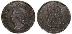 World Coins - Oliver Cromwell 1656 silver pattern Half-Broad MS62, only example available