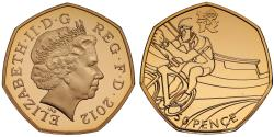 World Coins - Elizabeth II Olympics 2012 gold 50-Pence Piedfort - Cycling