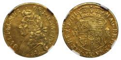 Ancient Coins - Scotland, William III 1701 gold Half-Pistole