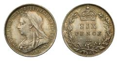 World Coins - Victoria 1901 Sixpence, older veiled head, final year