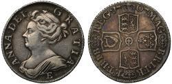World Coins - Anne 1707E Shilling, Edinburgh Mint, London derived dies, third bust
