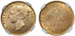 World Coins - Canada, Victoria 2-Dollars 1882H AU58