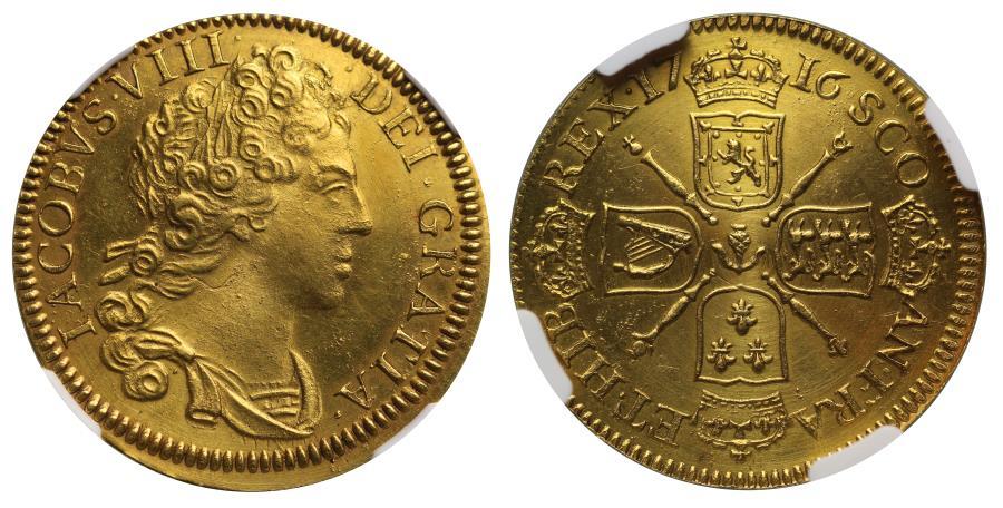 foto de Scotland, James VIII Pattern gold Guinea dated 1716 struck 1828 ...