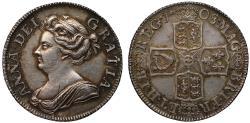 World Coins - Anne 1708 Shilling, third bust, plain reverse