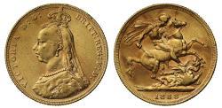 World Coins - Victoria gold Sovereign 1888 L8 R6