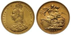 World Coins - Victoria 1887 S Sovereign DISH S2