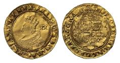 World Coins - Charles I Unite coronation bust, first high arched crown, elaborate reverse, mm lis