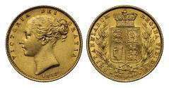 World Coins - Victoria 1853 Shield Sovereign, WW raised