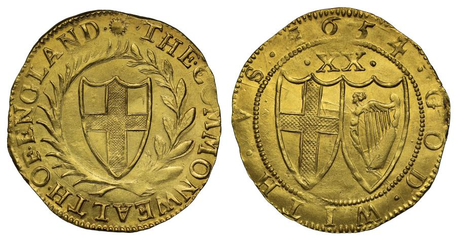 World Coins - Commonwealth 1654 gold Unite, 4 over 3 and G over reversed D