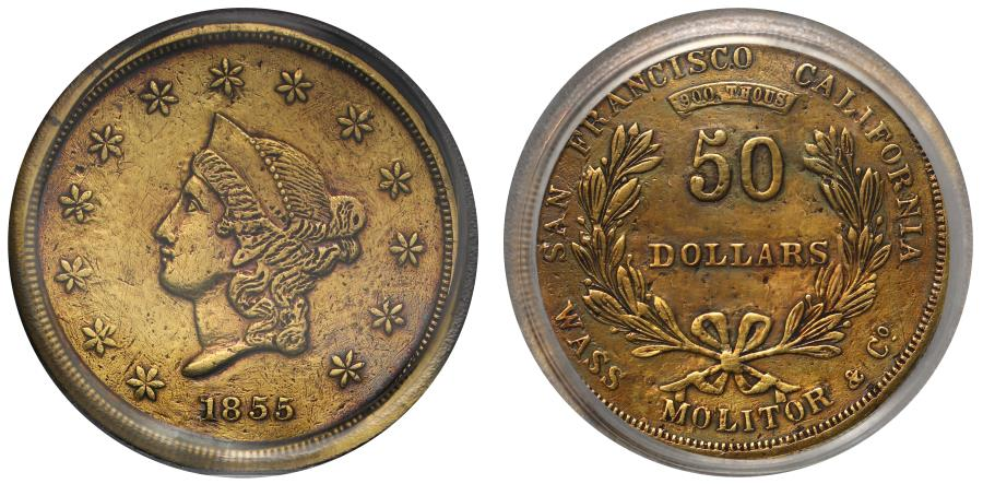 US Coins - USA, California 1855  Wass, Molitor & Co. gold $50 VF DETAIL