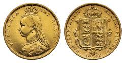 World Coins - Victoria 1892 Jubilee head Half-Sovereign London DISH L514 no JEB high shield