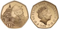 World Coins - Paddington at St Paul's Cathedral - Elizabeth II 2019 gold proof Fifty Pence