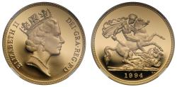 World Coins - Elizabeth II 1994 proof Five-Pounds PF69 ULTRA CAMEO