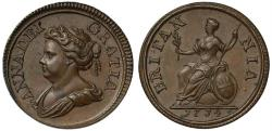 World Coins - Anne 1714 copper Farthing