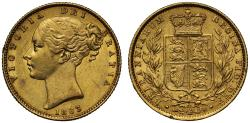 World Coins - Victoria 1863 Sovereign, die number 13, young head, shield reverse