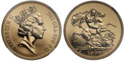 World Coins - Elizabeth II 1986 gold Five-Pounds MS69 PROOF LIKE