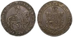 World Coins - James I Crown, third coinage, Welsh plumes over shield