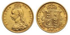 World Coins - Victoria 1889 Jubilee head Half-Sovereign Sydney DISH S507 low shield R3