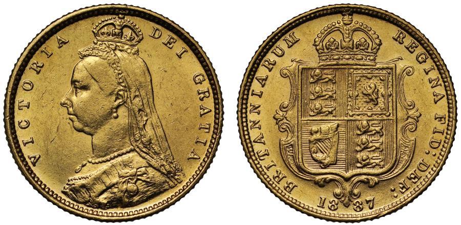 World Coins - Victoria 1887 Half-Sovereign London no JEB, plain truncation, rare