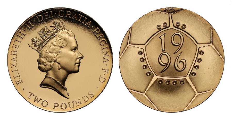 World Coins - Elizabeth II 1996 proof Two-Pounds - Euro 96 Football