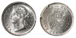 World Coins - Hong Kong 5-Cents, 1901, MS65+.