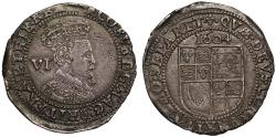 World Coins - James I 1604 Sixpence, second coinage, third bust, mint mark lis