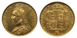 World Coins - Victoria 1887 Jubilee head Half-Sovereign London DISH L502 R5 CGS65