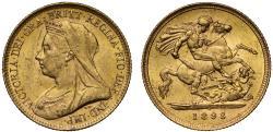 World Coins - Victoria 1893 Half-Sovereign old head MS62